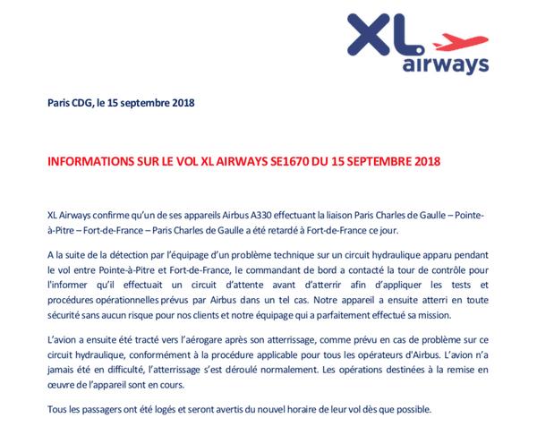 communiqué XL Airways