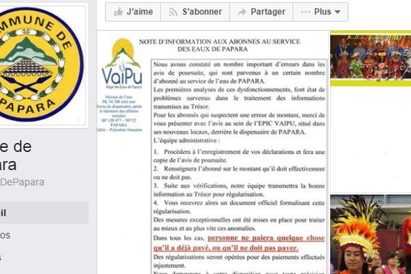 Note d'information de la régie des eaux de Papara à ses abonnés