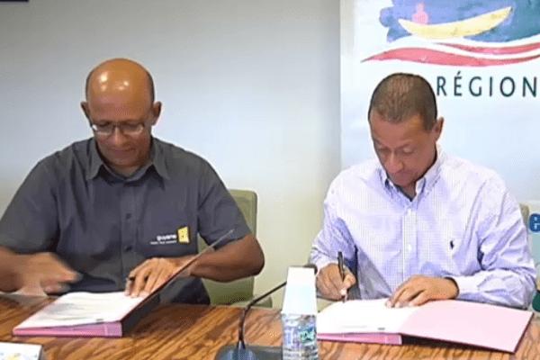 Signature convention Région-Guyane 1ère