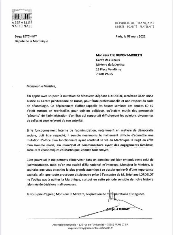Courrier Serge Letchimy / mutation prison
