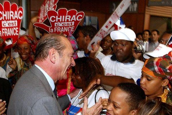 Jacques Chirac en Guyane en 2002.