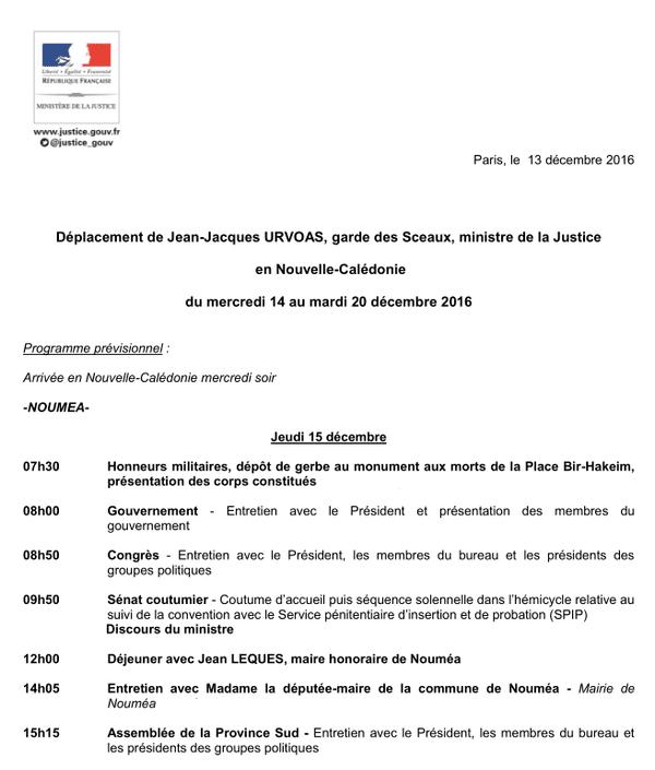 Jean-Jacques Urvoas : programme visite du 15 décembre