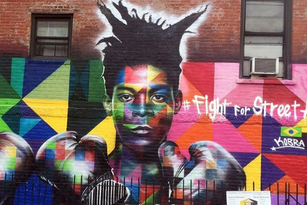 Dessin représentant Jean-Michel Basquiat dans une rue de New-York en 2017