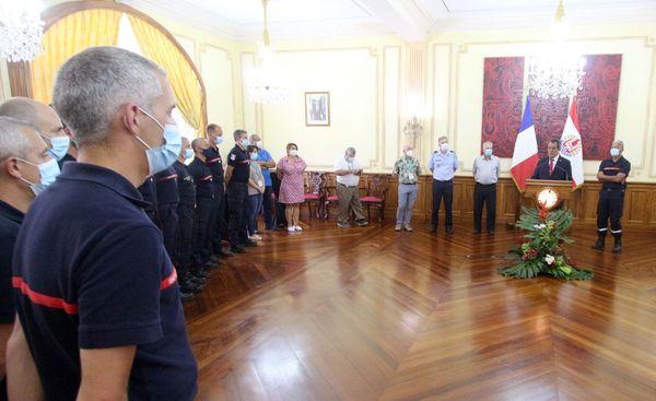 Les pompiers métropolitains salués par le président du Pays