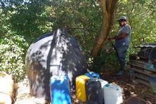 Réserve d'eau sur une exploitation agricole.