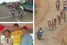 L'arrivée de Scaroni devançant Lino, Lino en maillot jaune et une vue dans le Grand Sud.
