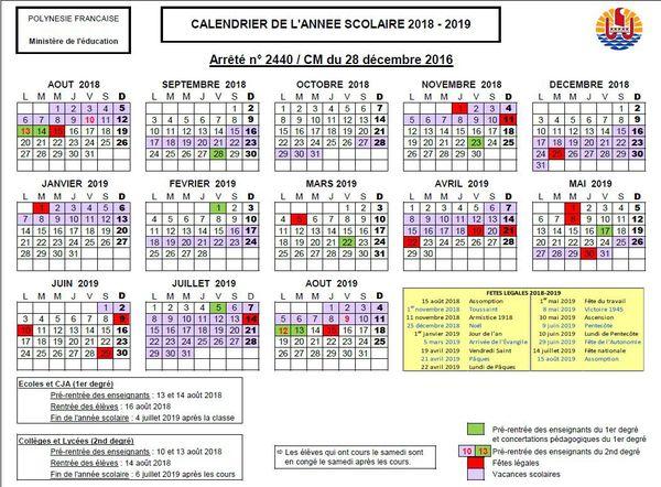 calendrier scolaire 2018 2019