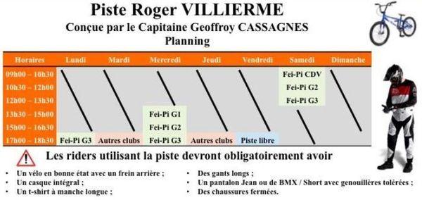 Horaires Piste BMX Roger Villierme