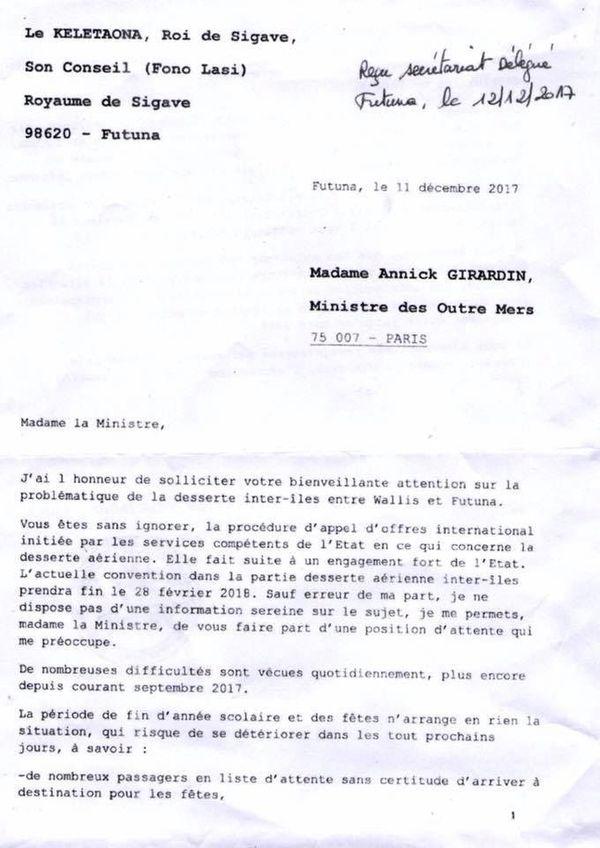 courrier roi de sigave à la ministre des OM Pb avion Wallis futuna page 1