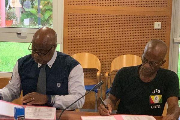 Gaby Clavier UTS UGTG et Gérard Cotellon directeur du CHU