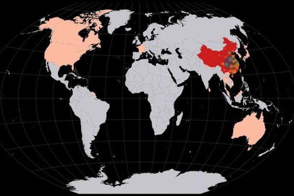 coronavirus carte des pays aux cas répertoriés 280120