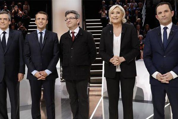 François Fillon, Emmanuel Macron, Jean-Luc Mélenchon, Marine Le Pen et Benoît Hamon