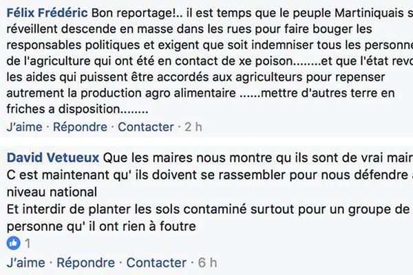 Post Facebook réaction Chlordécone