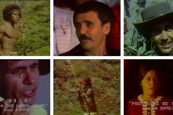 Paul K. Dupré à la télévision, entouré d'images de ses films.