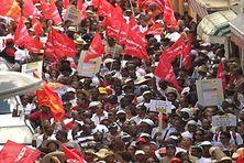 La grève grève de 2009 dans les rues de Fort-de-France en Martinique.