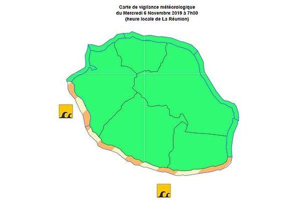 Carte de forte Houle 6 nov 2019