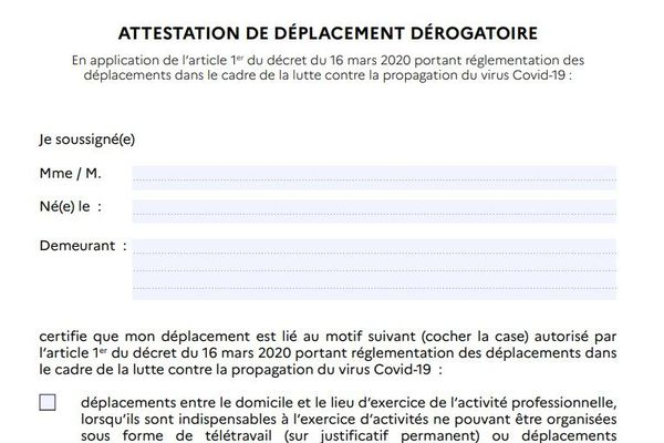 Capture d'écran de l'attestation de circulation
