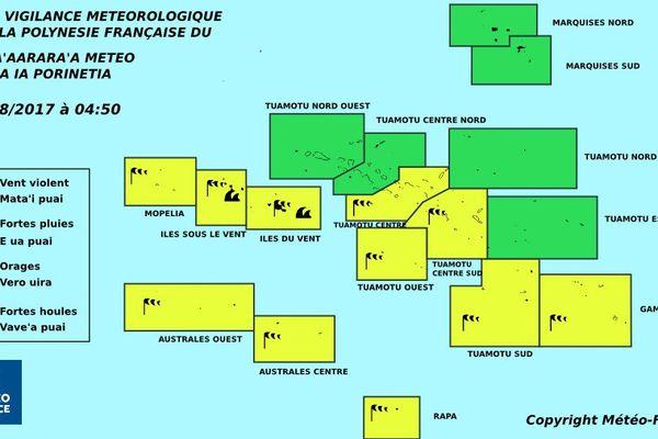 Le centre et le sud de la Polynésie en vigilance jaune