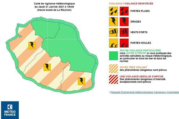 Carte de vigilance météorologique  du Jeudi 21 Janvier 2021 à 14h40  (heure locale de La Réunion)