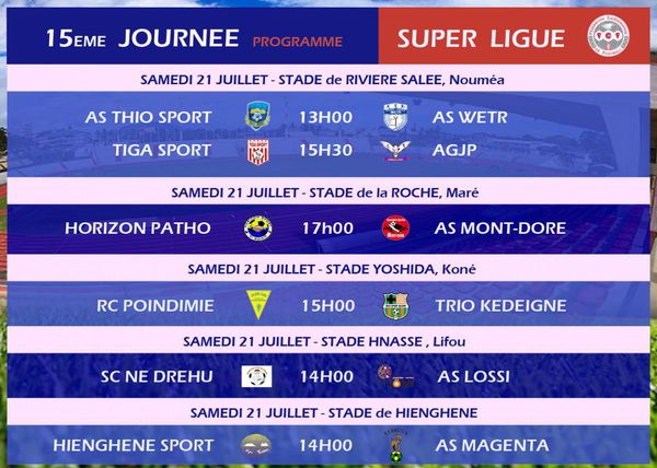 Les matches de la quinzième journée de super ligue 2018