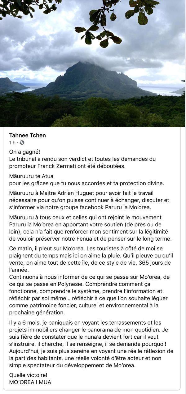 Capture écran - Page Facebook de Tahnee Tchen