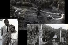 Photo aérienne du domaine de la Pagerie, Robert Rose-Rosette et sa fille Françoise, les ruines de l'usine sucrière