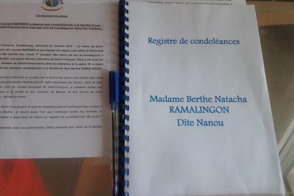 REGISTRE CONDOLEANCES MEURTRE NATACHA RAMALINGON