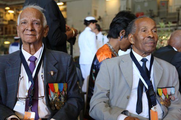 Les dissidents Edmond Sainsily (91 ans, guadeloupéen) et Raymond Marin Loza (91 ans, martiniquais)