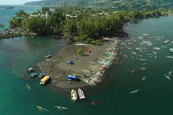 Vue aérienne du site du Te Aito 2018 à Tahiti.