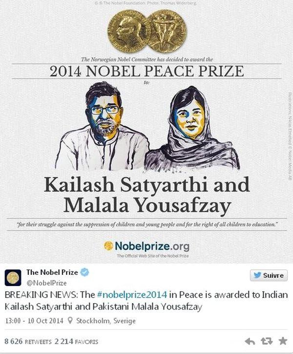 Prix Nobel Paix 2014