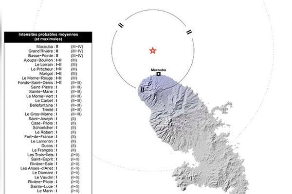Carte séisme du 13 décembre 2018