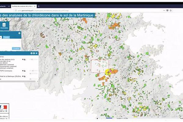 carte pollution Chlordécone Martinique