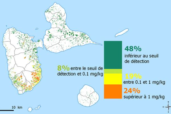 Cartographie - analyses des sols chlordécone