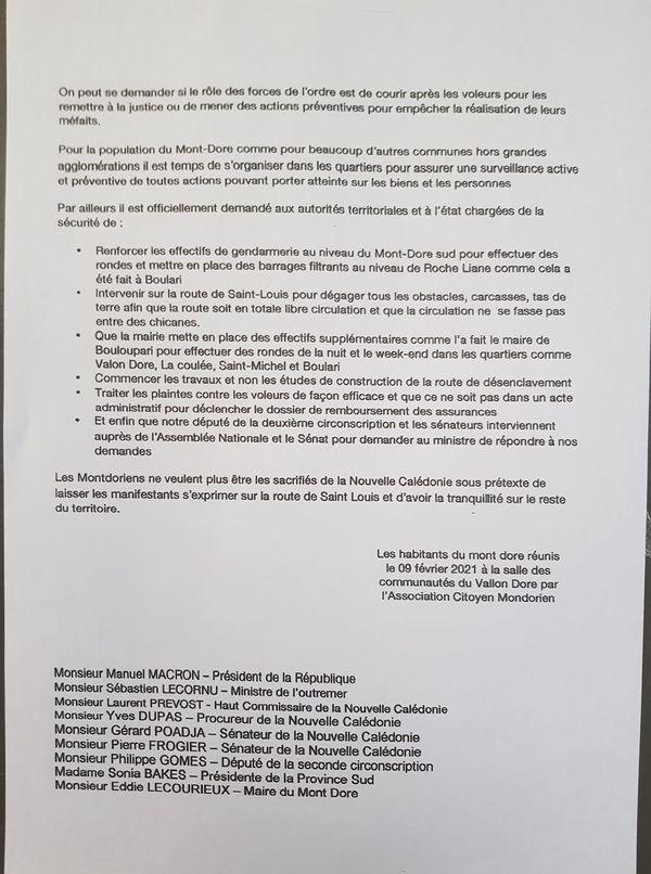 Citoyen mondorien sécurité lettre 2