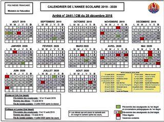 Calendrier Scolaire 20192020.Decouvrez Le Calendrier Scolaire 2019 2020 Polynesie La 1ere