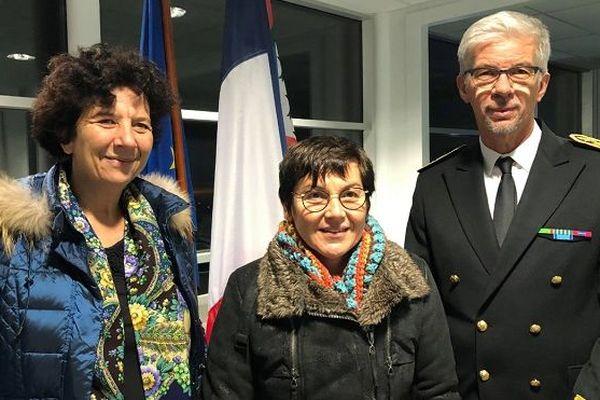Ministres Vidal et Girardin et le préfet Devimeux