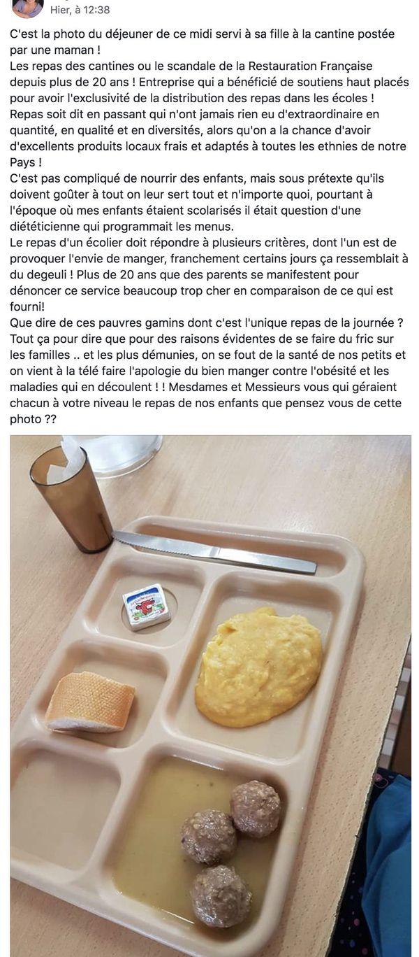 Cantine : colère d'une maman (post FB)