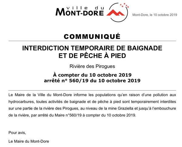 Communiqué Mont-Dore rivière des Pirogues