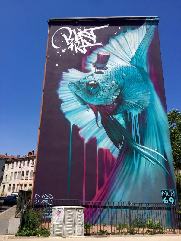 Un grand mur peint à Lyon par KALOUF