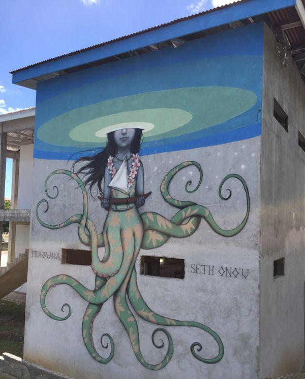 Sirène pieuvre protectrice des navigateurs du triangle polynésien - Seth Festival ONO'U Raiatea