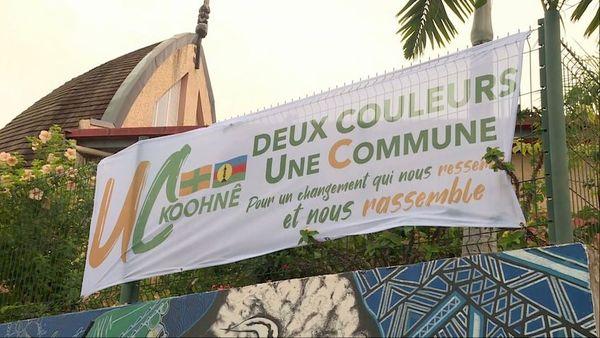 Municipales à Koné, banderole UC FLNKS Koohne