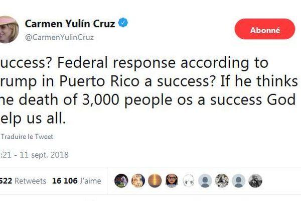 Tweet de Yulin Cruz Soto, maire de San Juan, capitale de Porto Rico