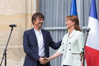 Nicolas Hulot et Ségolène Royal lors de la passation de pouvoir au ministère de l'Ecologie, en mai 2017