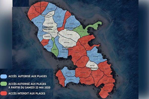 Carte des plages de Martinique