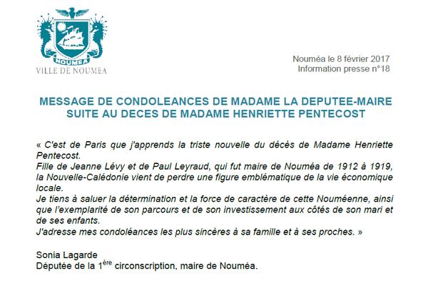 Communiqué Sonia Lagarde