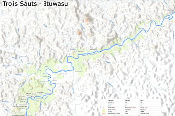 Carte de Trois-Sauts (Parc amazonien de Guyane)