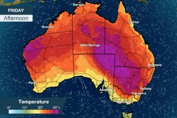 carte météo australie
