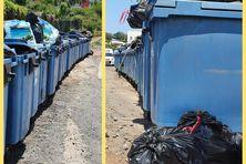 Au Point de Collecte de Rassemblement  des Hauts-Vallons les bacs sont bien rangés mais les déchets ne sont pas toujours déposés à l'intérieur