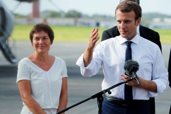 Le chef de l'Etat Emmanuel Macron à son arrivée en Guadeloupe, mardi 12 septembre.
