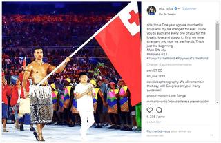 Pita Taufatofua à la cérémonie d'ouverture des JO d'hiver 2018